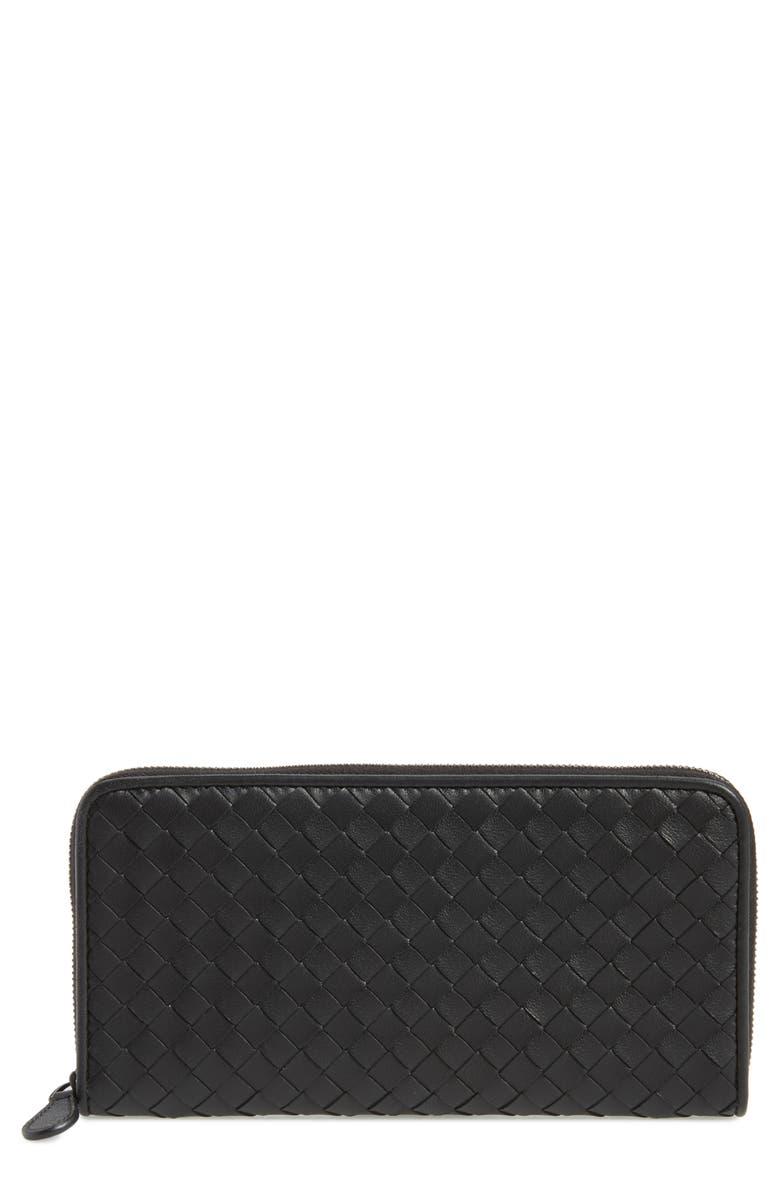 BOTTEGA VENETA Intreccio Zip Around Wallet, Main, color, BLACK