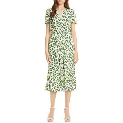 Dvf Cecilia Summer Leopard Print Midi Dress, Green
