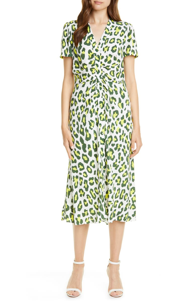 DVF Cecilia Summer Leopard Print Midi Dress, Main, color, SUMMER LEOPARD SULFUR