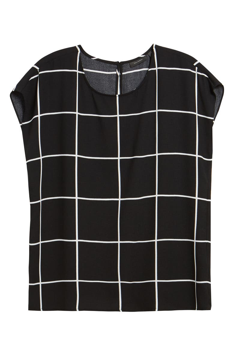 HALOGEN<SUP>®</SUP> Cap Sleeve Blouse, Main, color, BLACK- IVORY CHECK