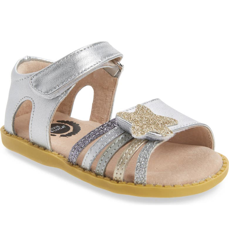 LIVIE & LUCA 'Nova' Sandal (Baby, Walker & Toddler, Main, color, SILVER SPARKLE