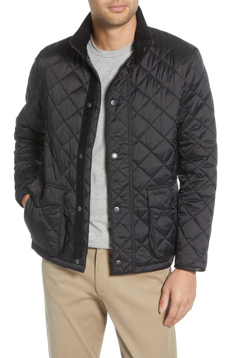 BARBOUR Evanton Quilted Jacket, Main, color, BLACK