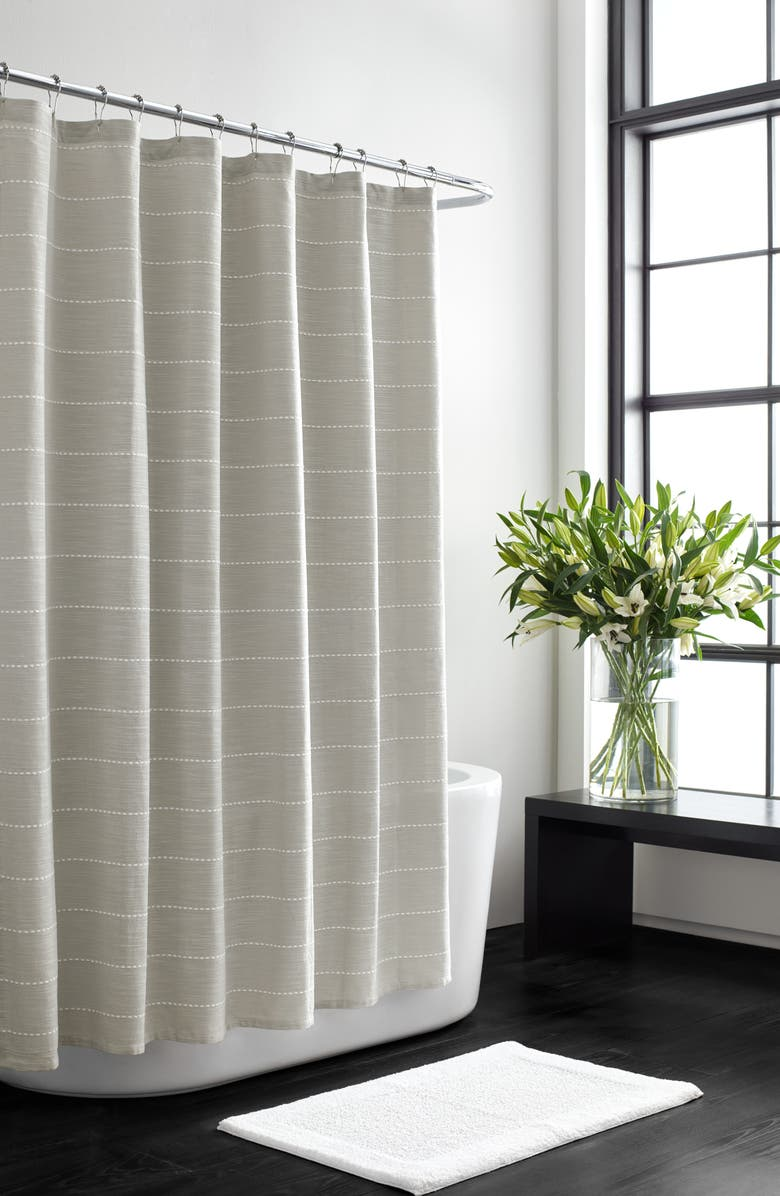 VERA WANG Embroidered Stripe Shower Curtain, Main, color, 100