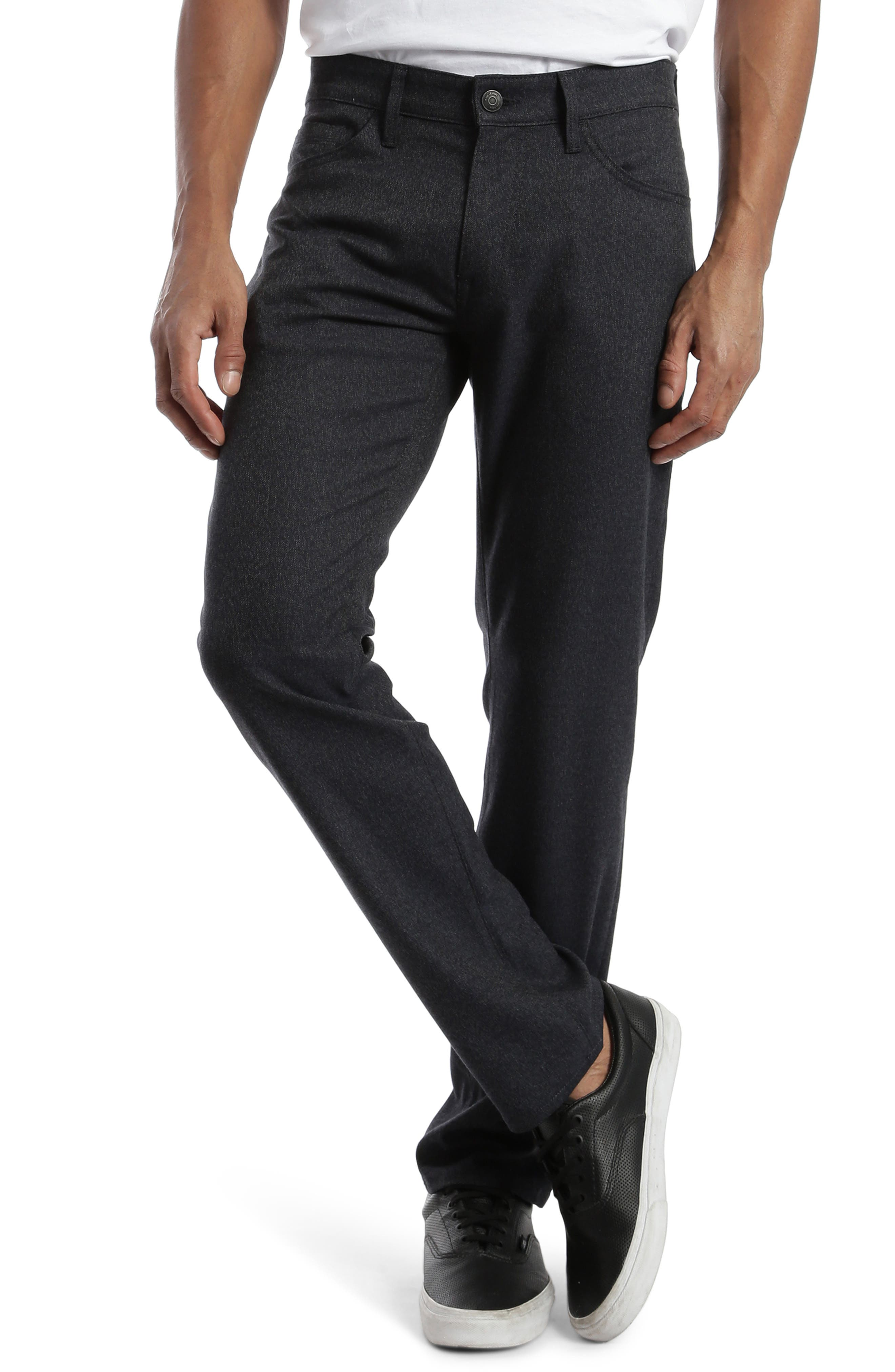 Stretchy tweed gives you a versatile alternative to everyday denim in five-pocket pants styled with a slim fit and a soft, dark finish. Style Name: Mavi Jeans Marcus Slim Straight Leg Five Pocket Pants (Smoke Feather Tweed). Style Number: 5944043. Available in stores.