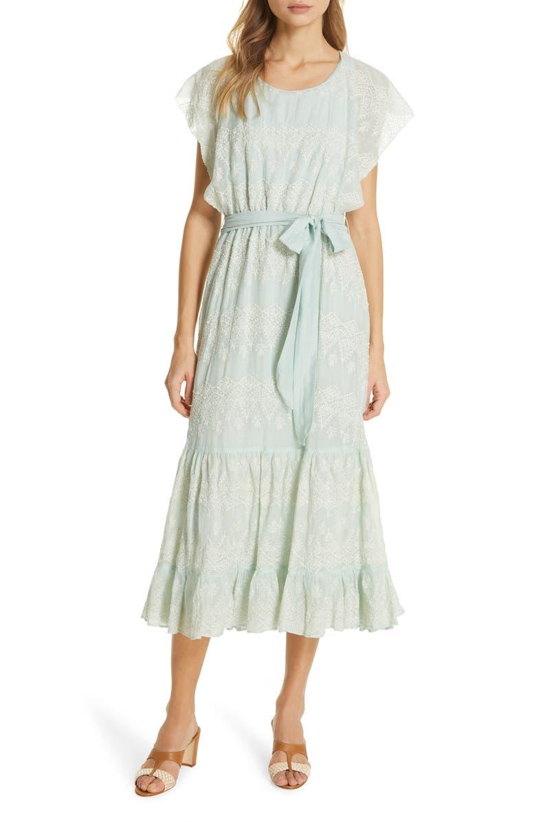 LOVE SAM Tallulah Embroidered Cotton & Silk Midi Dress, Main, color, 450