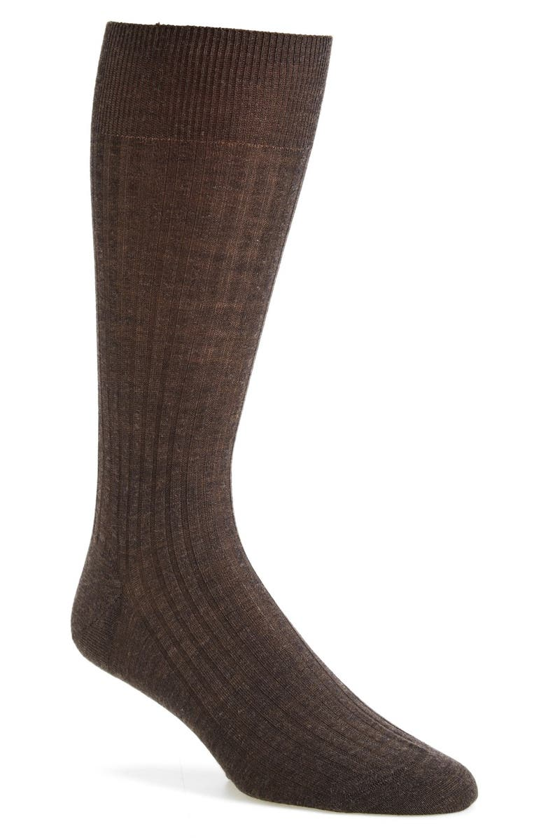 PANTHERELLA Merino Wool Blend Dress Socks, Main, color, DARK BROWN MIX