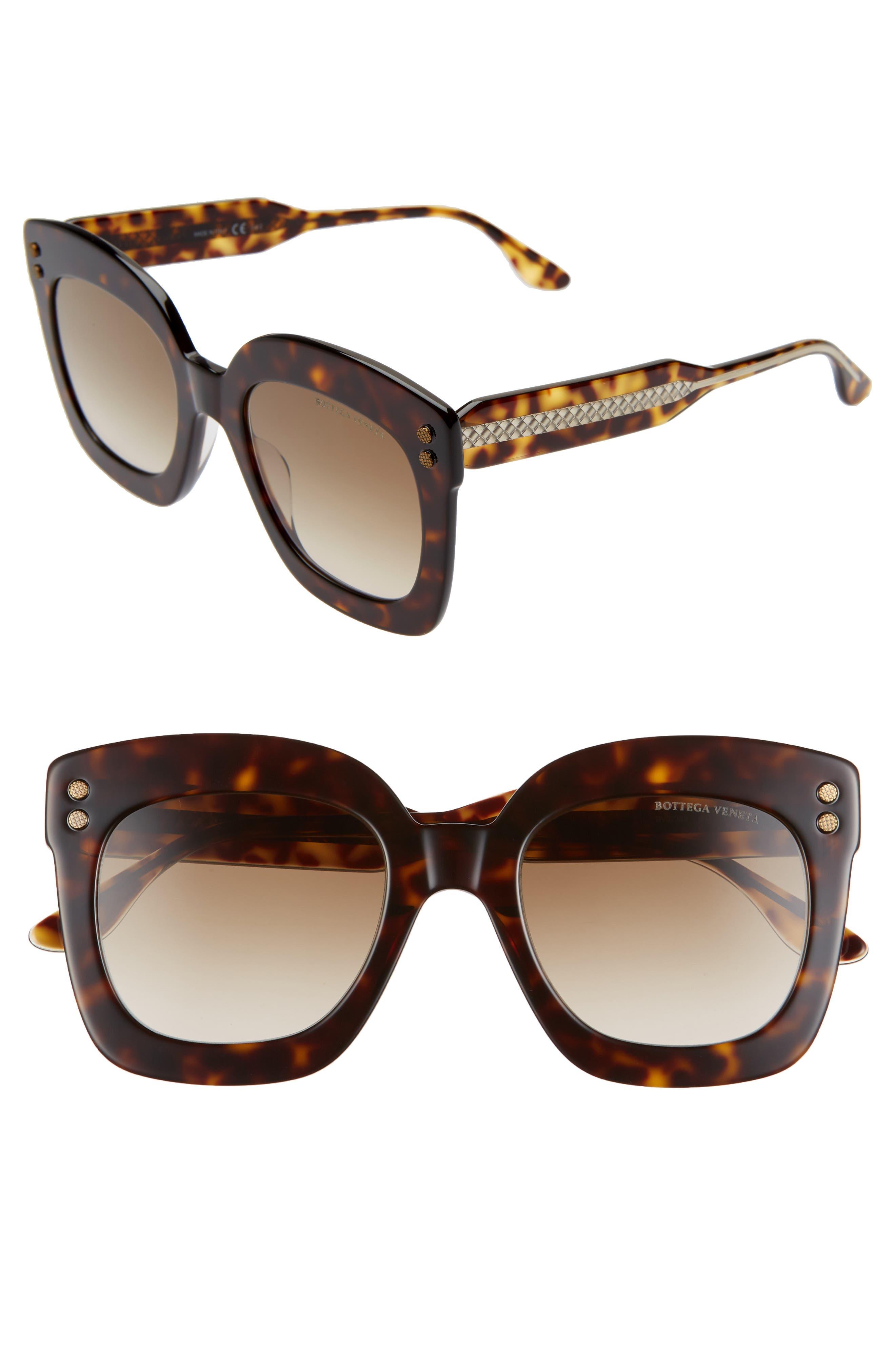 Bottega Veneta 51Mm Gradient Square Sunglasses - Dark Havana/ Brown