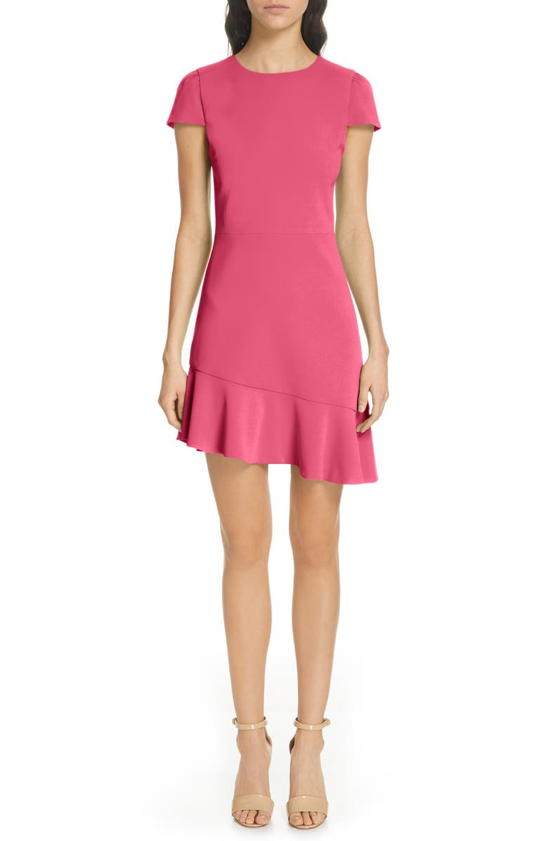 ALICE + OLIVIA Fable Asymmetrical Ruffle Dress, Main, color, HOT PINK