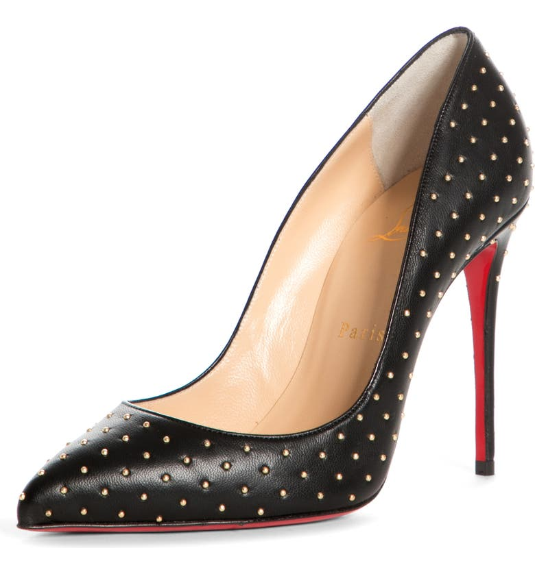 CHRISTIAN LOUBOUTIN Pigalle Follies Plume Pointed Toe Pump, Main, color, BLACK/ GOLD