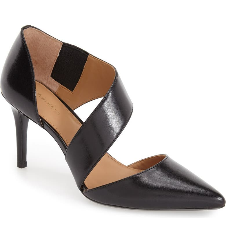 CALVIN KLEIN 'Gella' Pointy Toe Pump, Main, color, BLACK