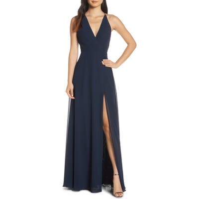 Jenny Yoo Bryce Surplice V-Neck Chiffon Evening Dress, Blue