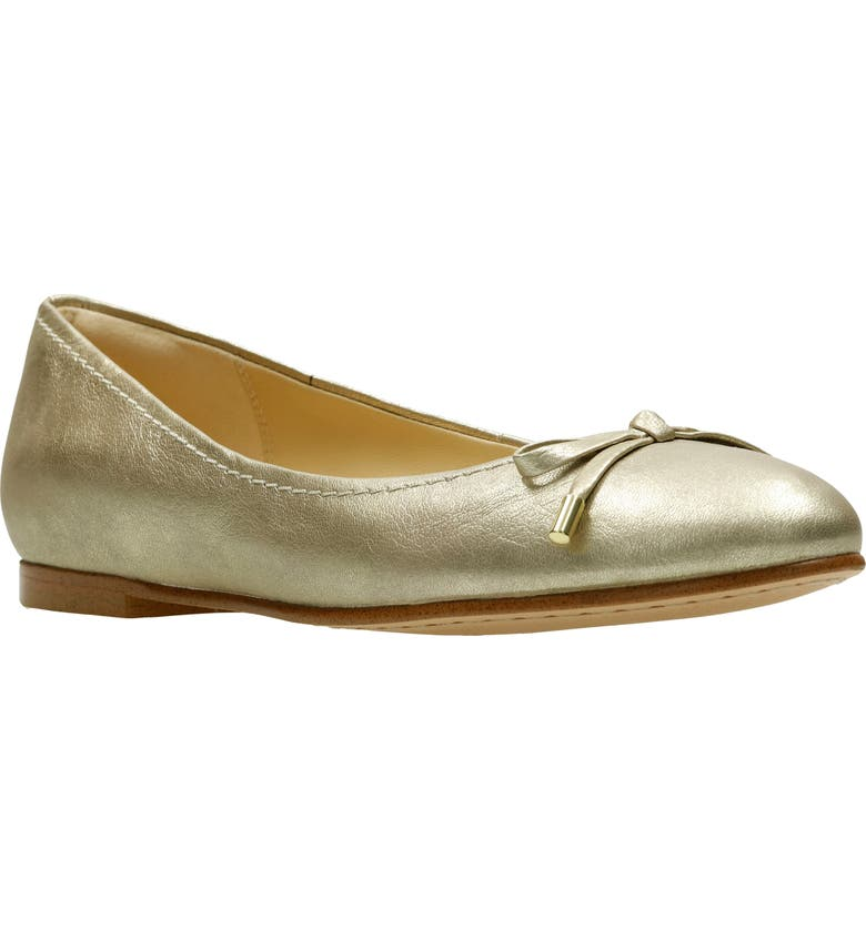 CLARKS<SUP>®</SUP> Grace Lily Flat, Main, color, CHAMPAGNE METALLIC LEATHER