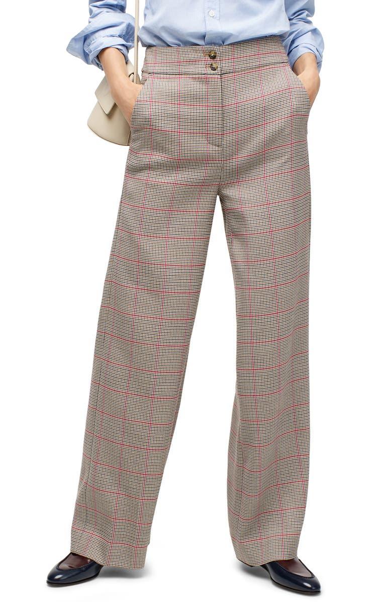 J.CREW Frankie Rose Plaid Pants, Main, color, NATURAL ROSE