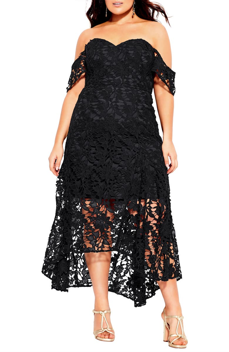 City Chic Lace Off the Shoulder High/Low Mermaid Gown (Plus ...
