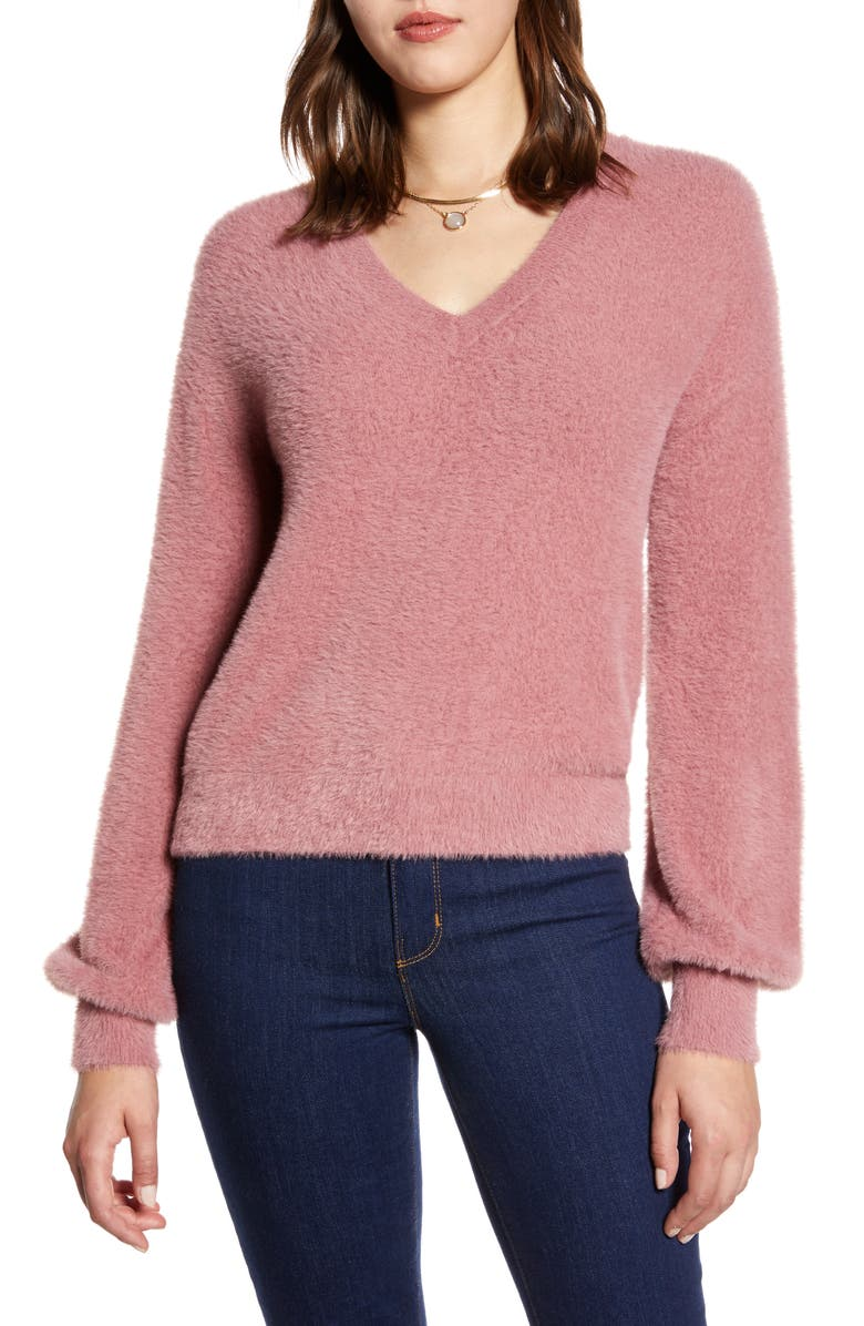 HALOGEN<SUP>®</SUP> Fuzzy V-Neck Sweater, Main, color, PURPLE MESA
