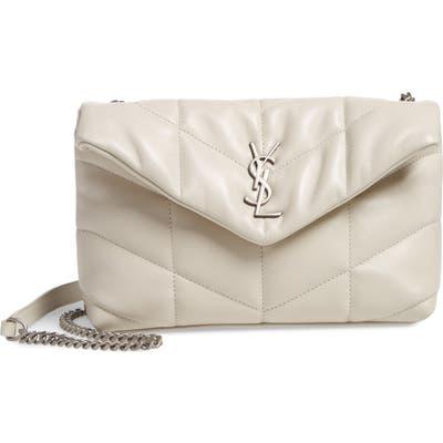 Saint Laurent Mini Loulou Puffer Crossbody Bag - White