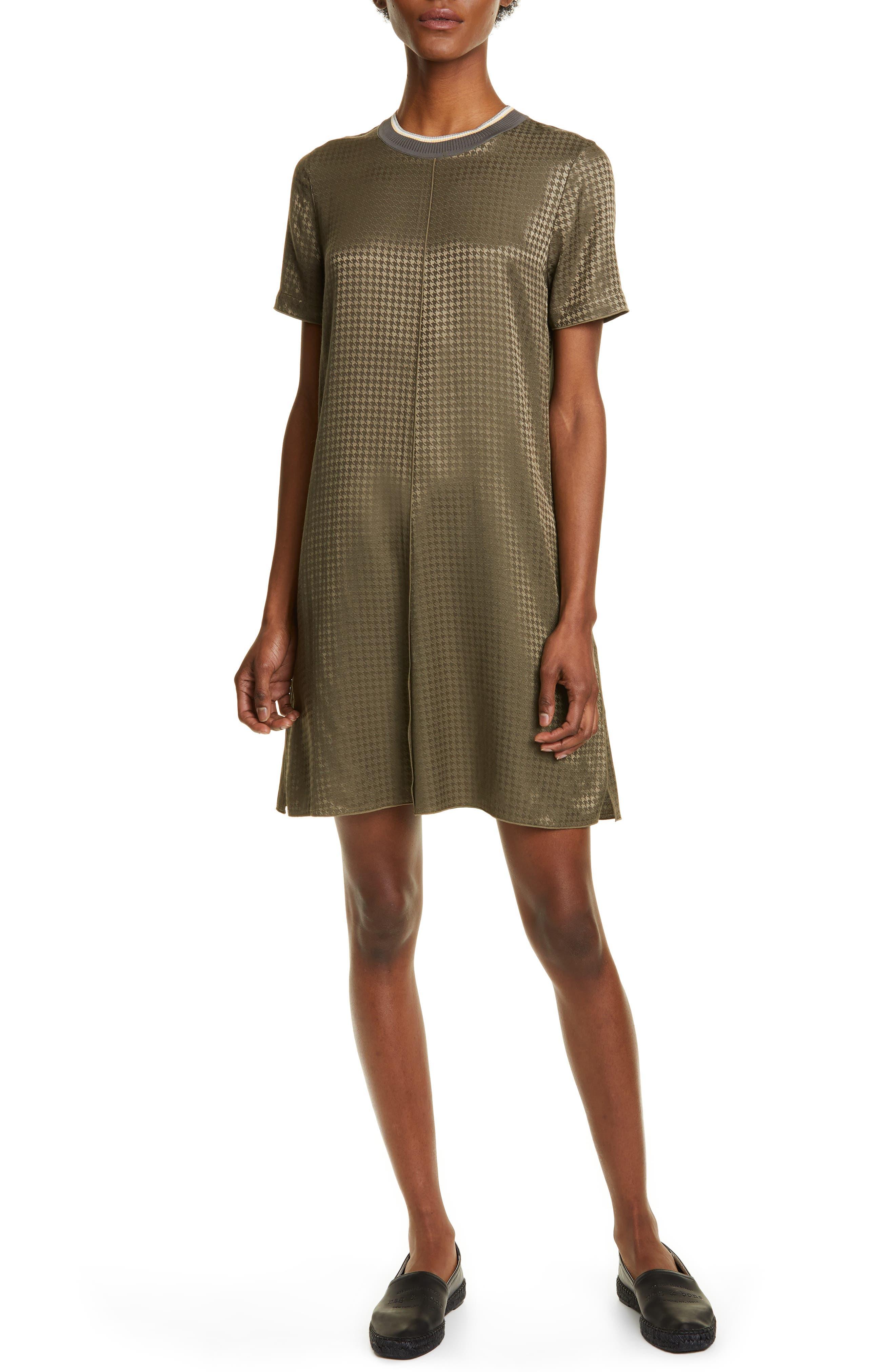 Rag & Bone Ali Houndstooth Shift Dress, Green