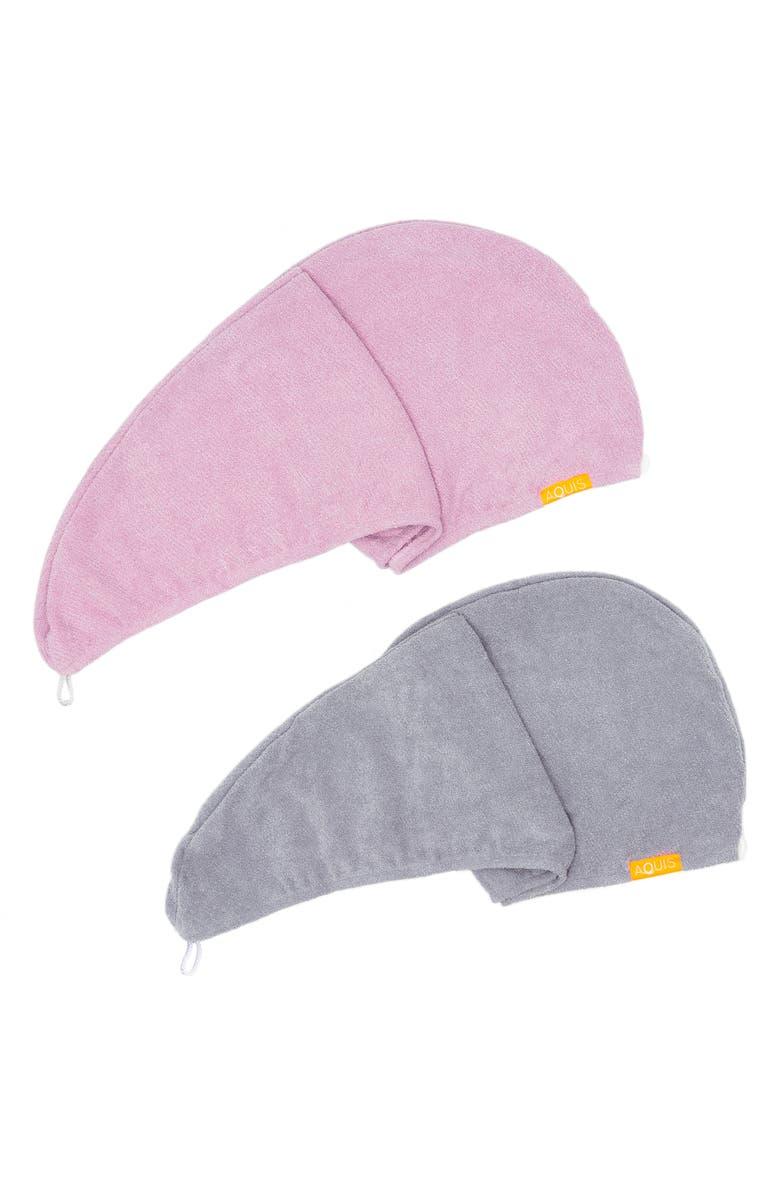 AQUIS Rapid Dry Lisse Hair Wrap Towel Duo-$60 Value, Main, color, PINK / BLUE