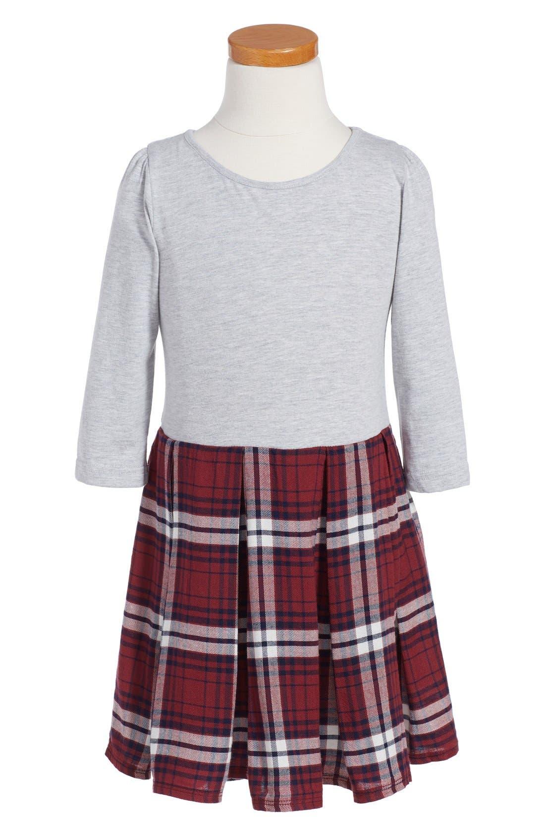 ,                             Pleated Knit Dress,                             Main thumbnail 1, color,                             050