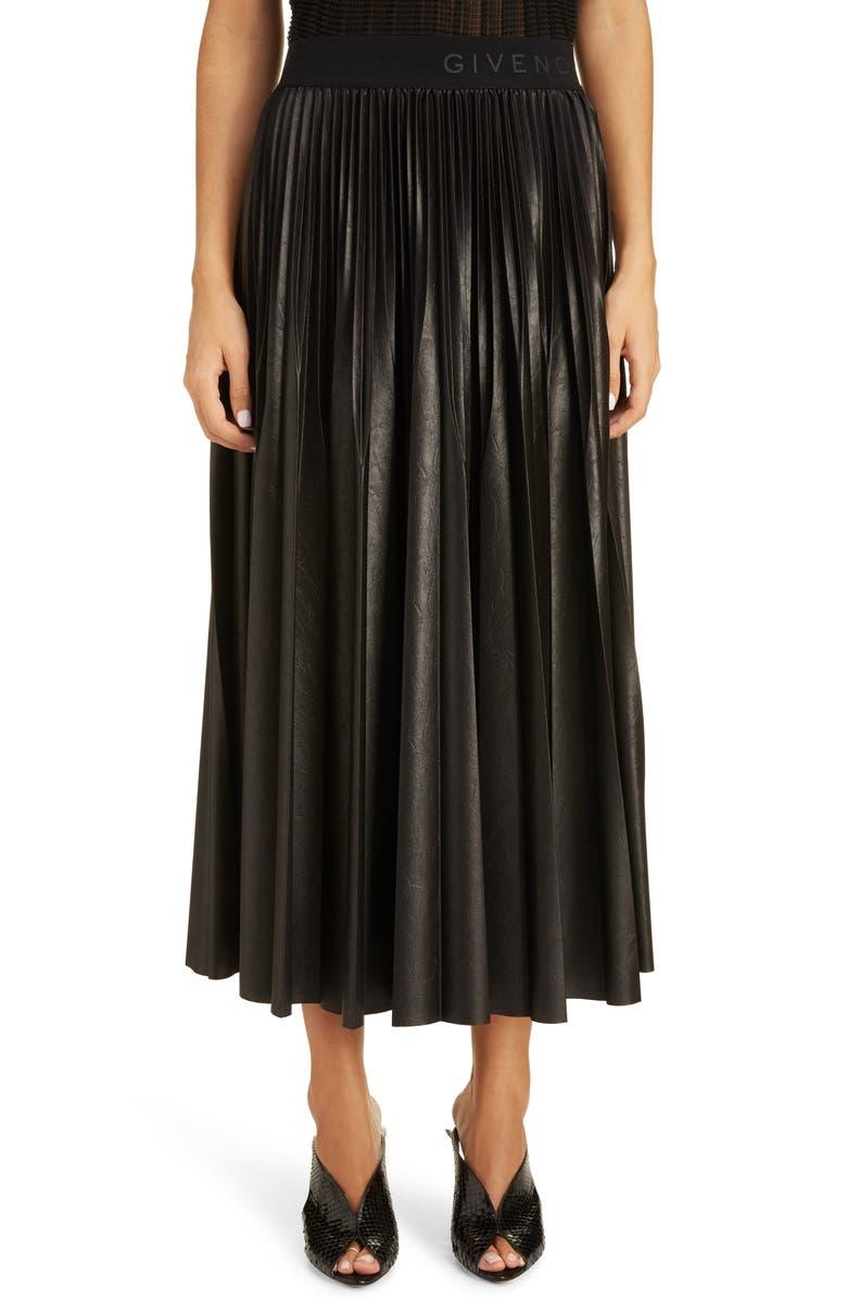 GIVENCHY Logo Waist Pleated Midi Skirt, Main, color, BLACK