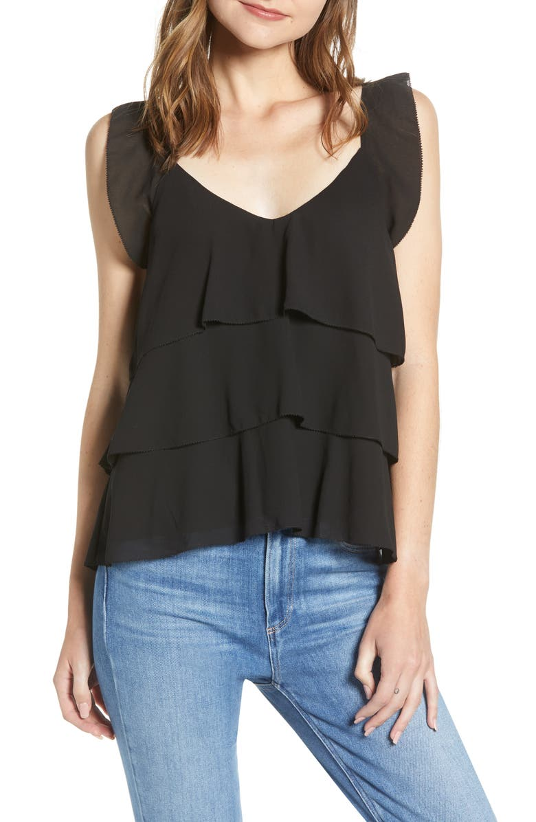 CUPCAKES AND CASHMERE Tiered Ruffle Camisole, Main, color, BLACK