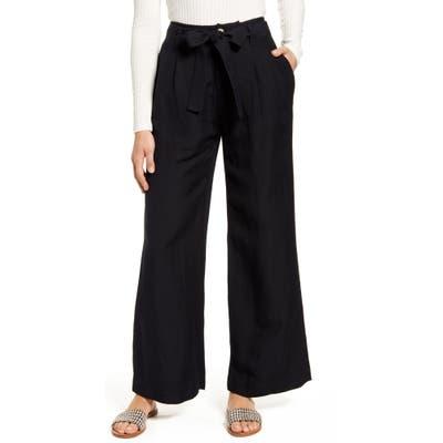 Rails Jess Linen Blend Paperbag Waist Pants, Black