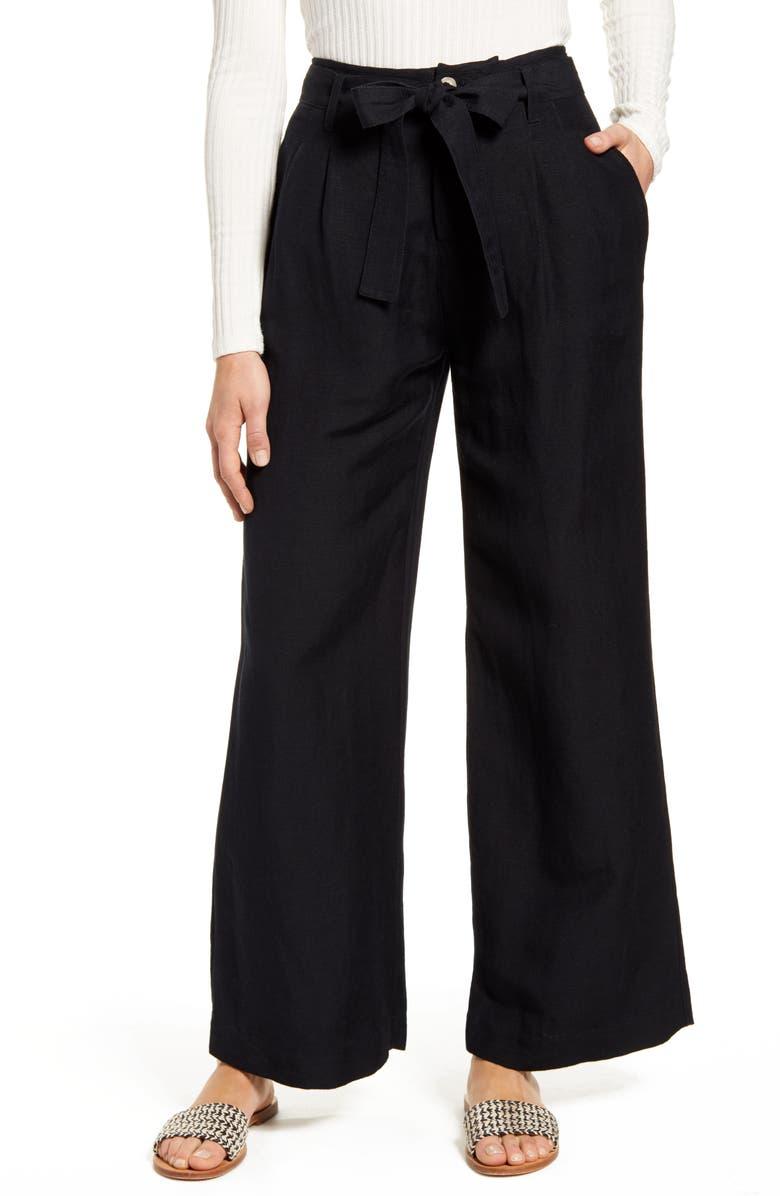RAILS Jess Linen Blend Paperbag Waist Pants, Main, color, 001