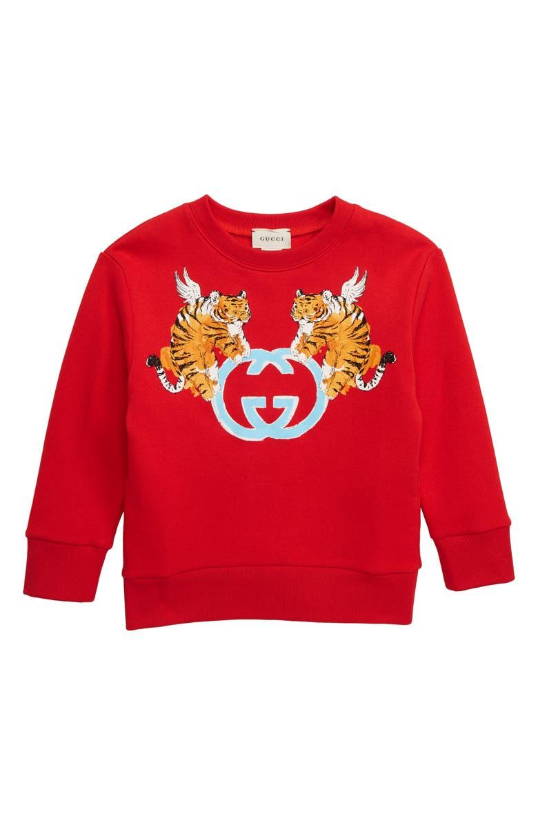GUCCI Tiger Logo Sweatshirt, Main, color, CRAB RED/ LIGHT BLUE