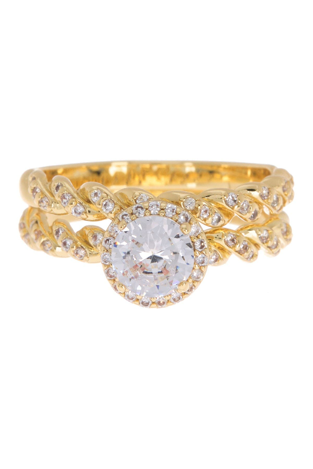 Image of Covet Twist Pave Engagement Ring Set