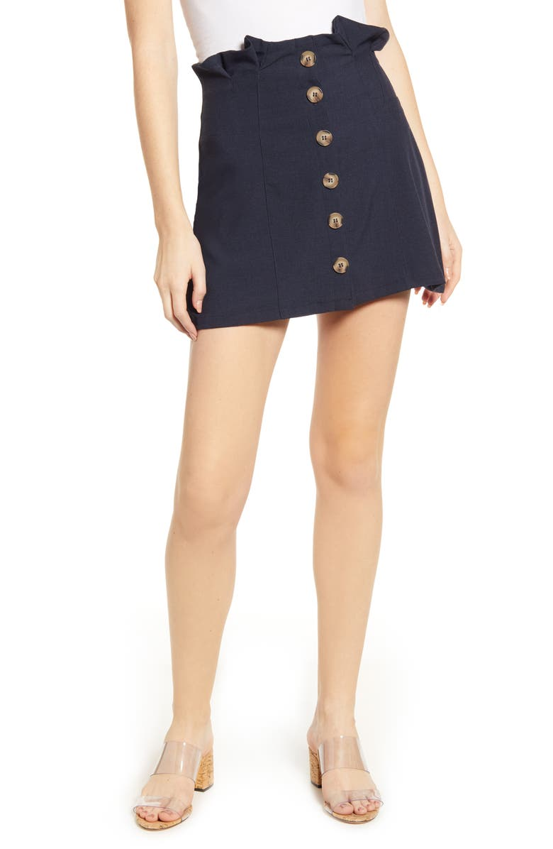 BISHOP + YOUNG Button Front Miniskirt, Main, color, MIDNIGHT BLUE