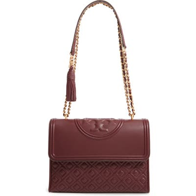 Tory Burch Fleming Quilted Lambskin Leather Convertible Shoulder Bag - Red