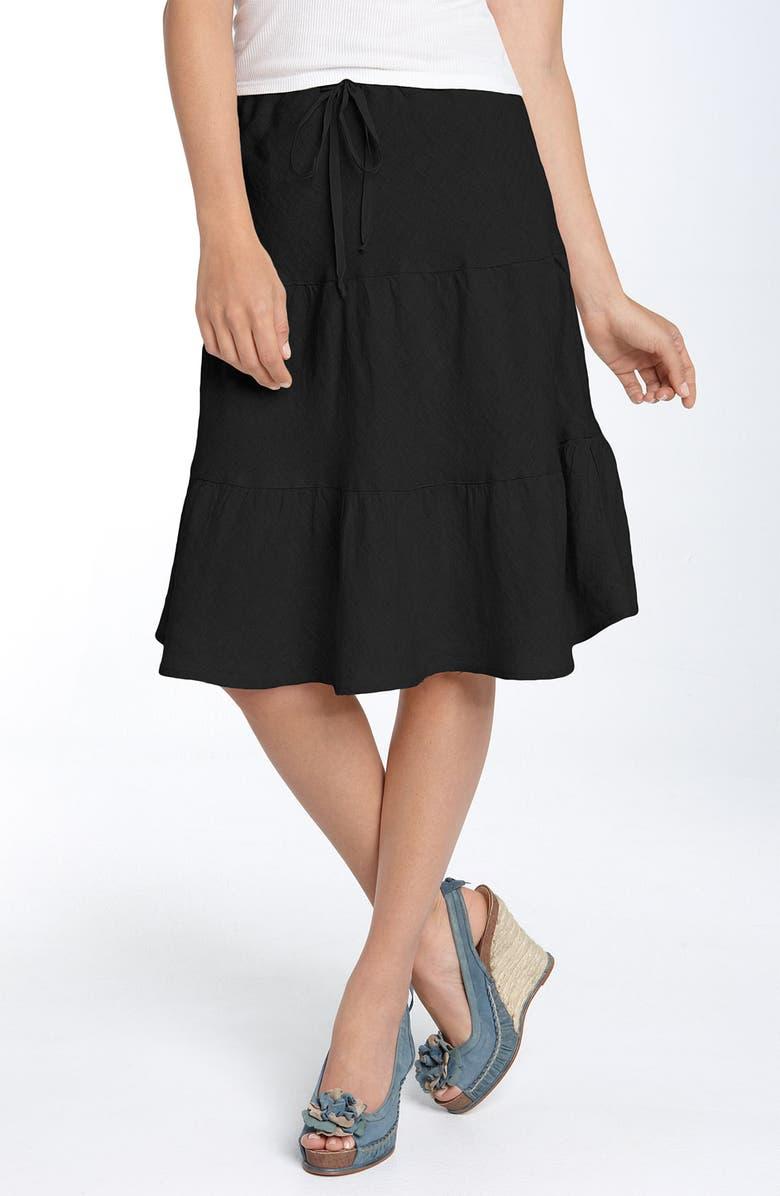 ALLEN ALLEN Tiered Linen Skirt, Main, color, 002