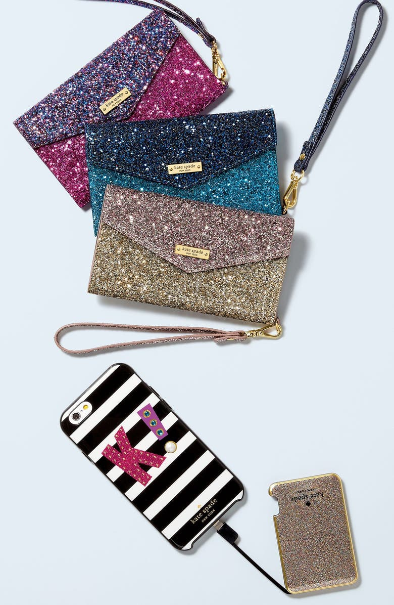 KATE SPADE NEW YORK glitter slim portable charger, Main, color, 650