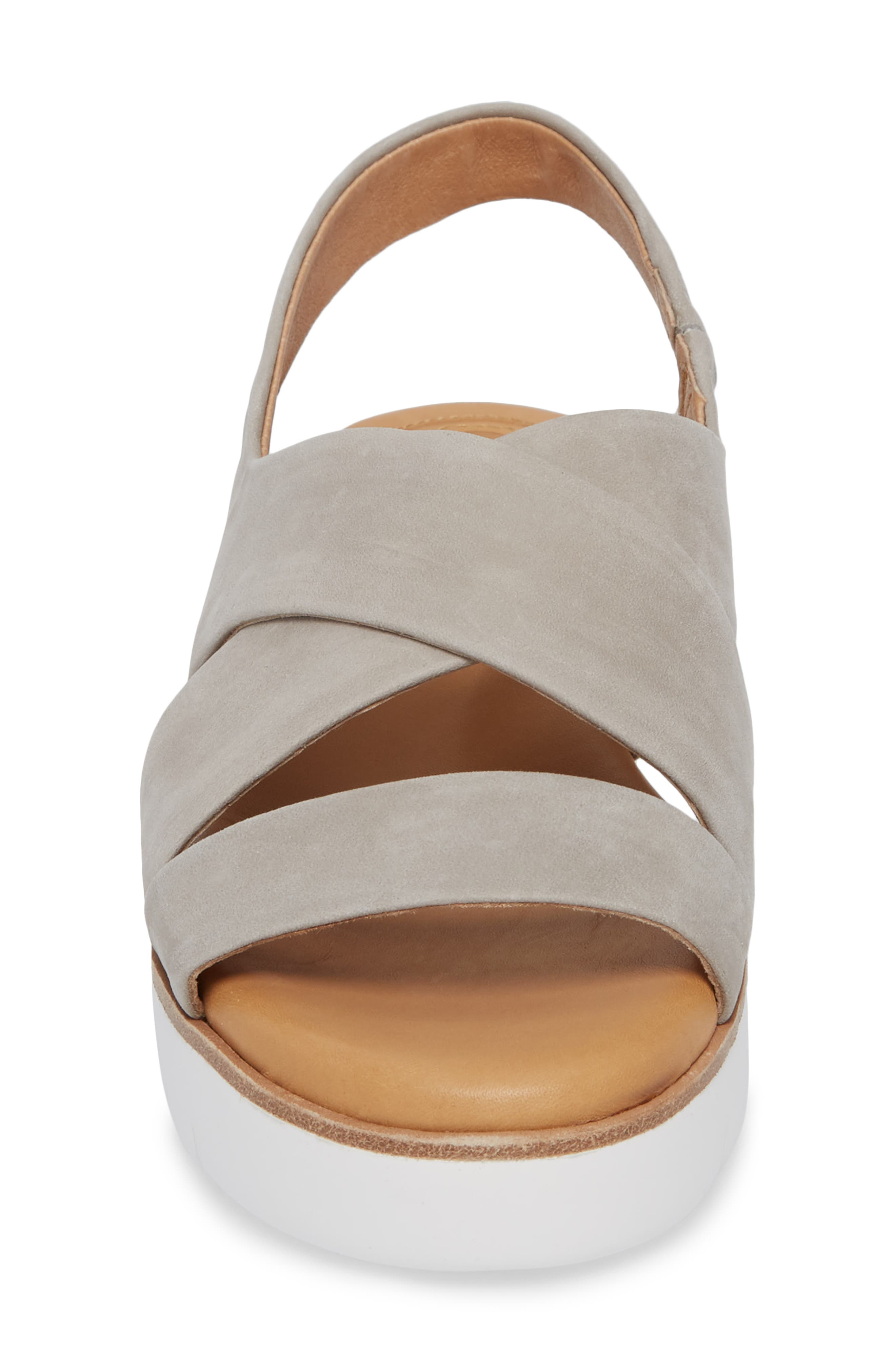 ,                             Brinney Wedge Sandal,                             Alternate thumbnail 4, color,                             GREY LEATHER