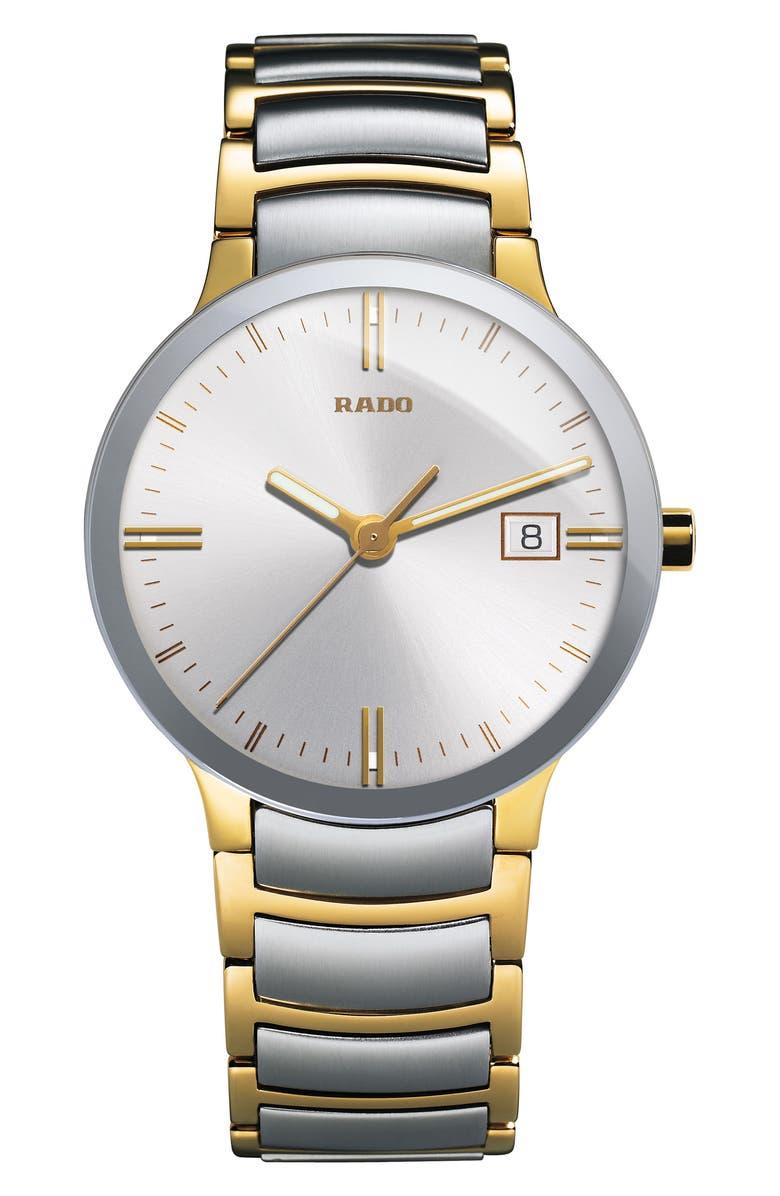 RADO Centrix Bracelet Watch, 38mm, Main, color, SILVER/ GOLD