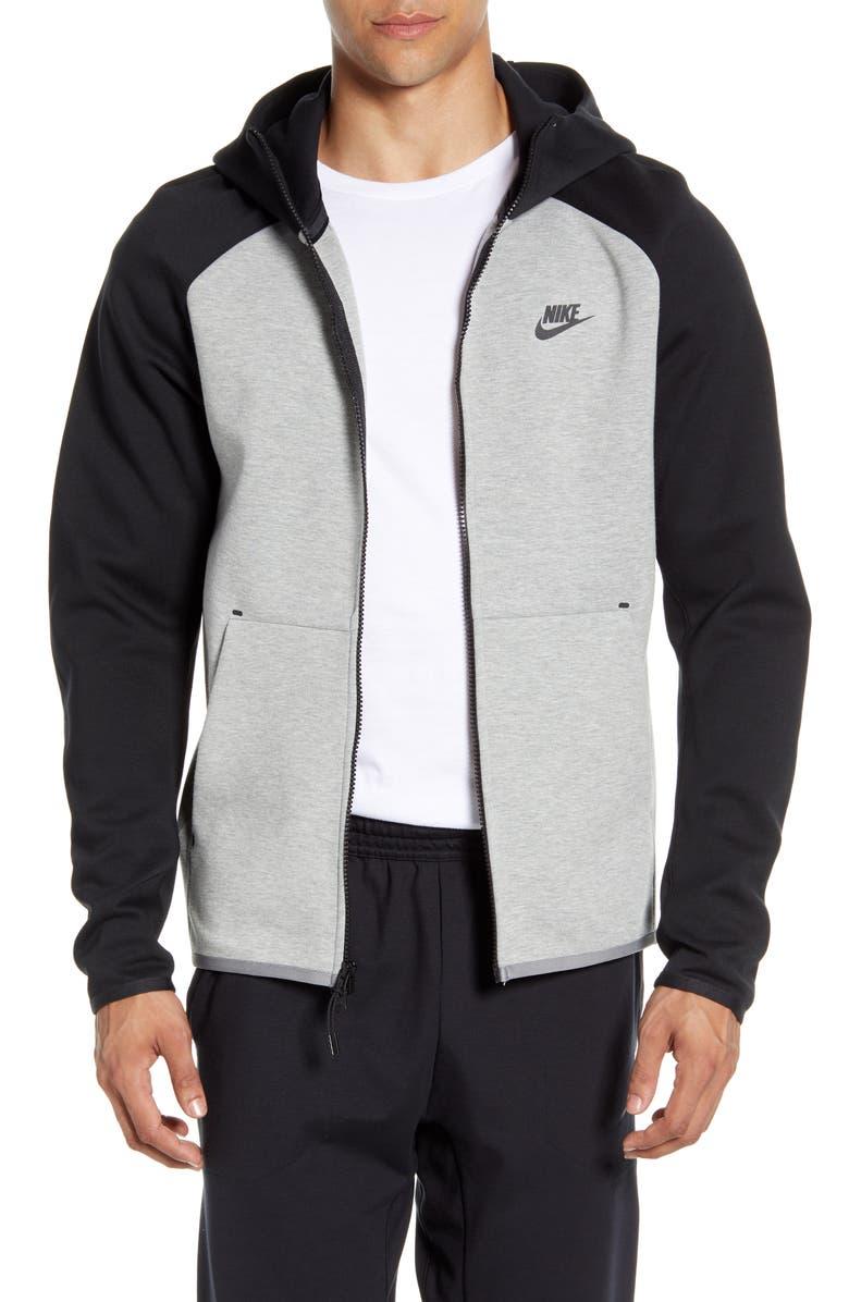 NIKE Sportswear Tech Fleece Zip Hoodie, Main, color, DARK GREY HEATHER/ BLACK