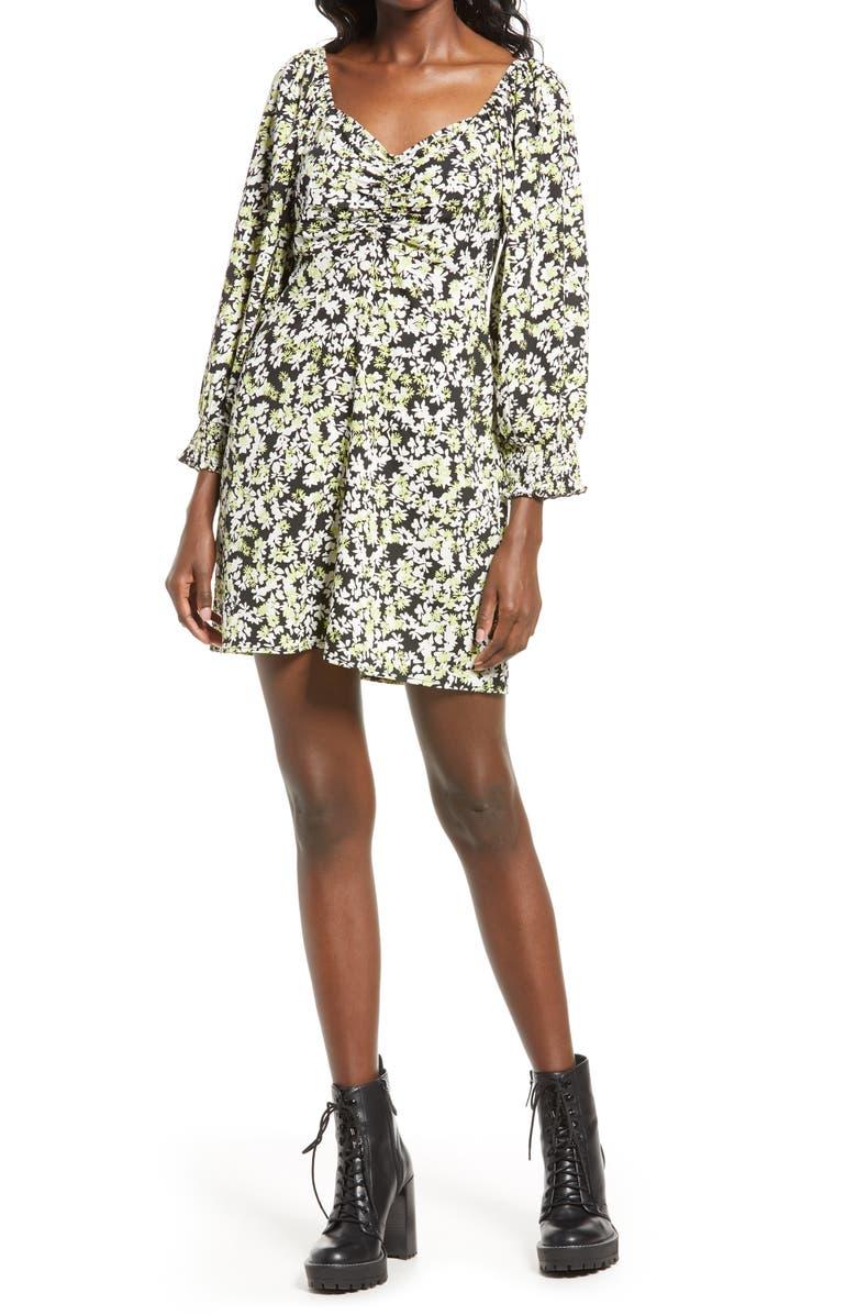 VERO MODA Chaddie Floral Long Sleeve Ruched Minidress, Main, color, BLACK AOP GEMMA