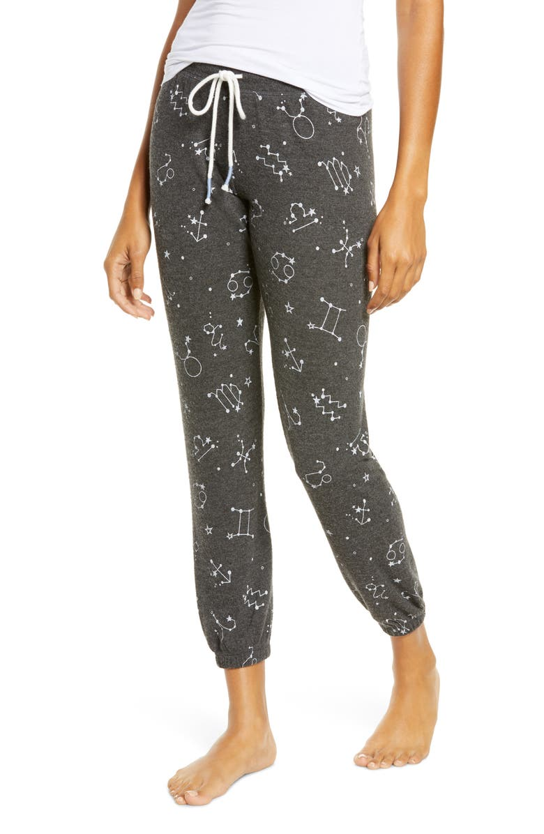 PJ SALVAGE What's Your Sign Pajama Pants, Main, color, HEATHER CHARCOAL