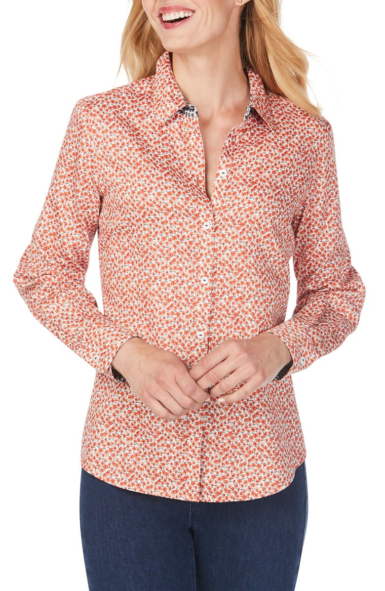 FOXCROFT Ditsy Autumn Floral Wrinkle-Free Sateen Shirt, Main, color, 800