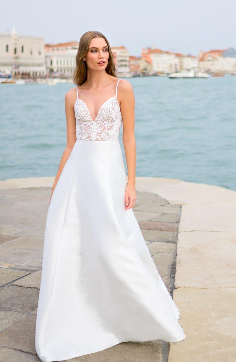 BLISS MONIQUE LHUILLIER Lace & Mikado Wedding Dress, Main, color, SILK WHITE / NUDE