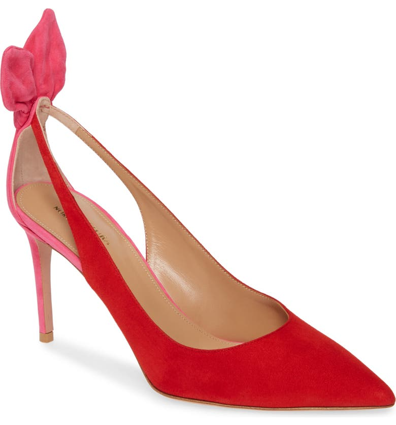 AQUAZZURA Deneuve Colorblock Pointed Toe Pump, Main, color, EXOTIC PINK