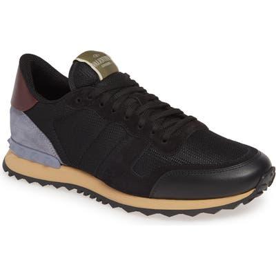 Valentino Garavani Nylon Rockrunner Sneaker, Black