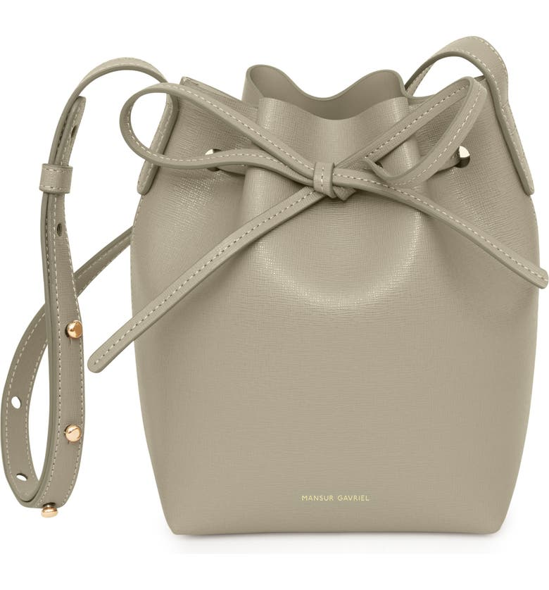 MANSUR GAVRIEL Mini Saffiano Leather Bucket Bag, Main, color, ELEFANTE