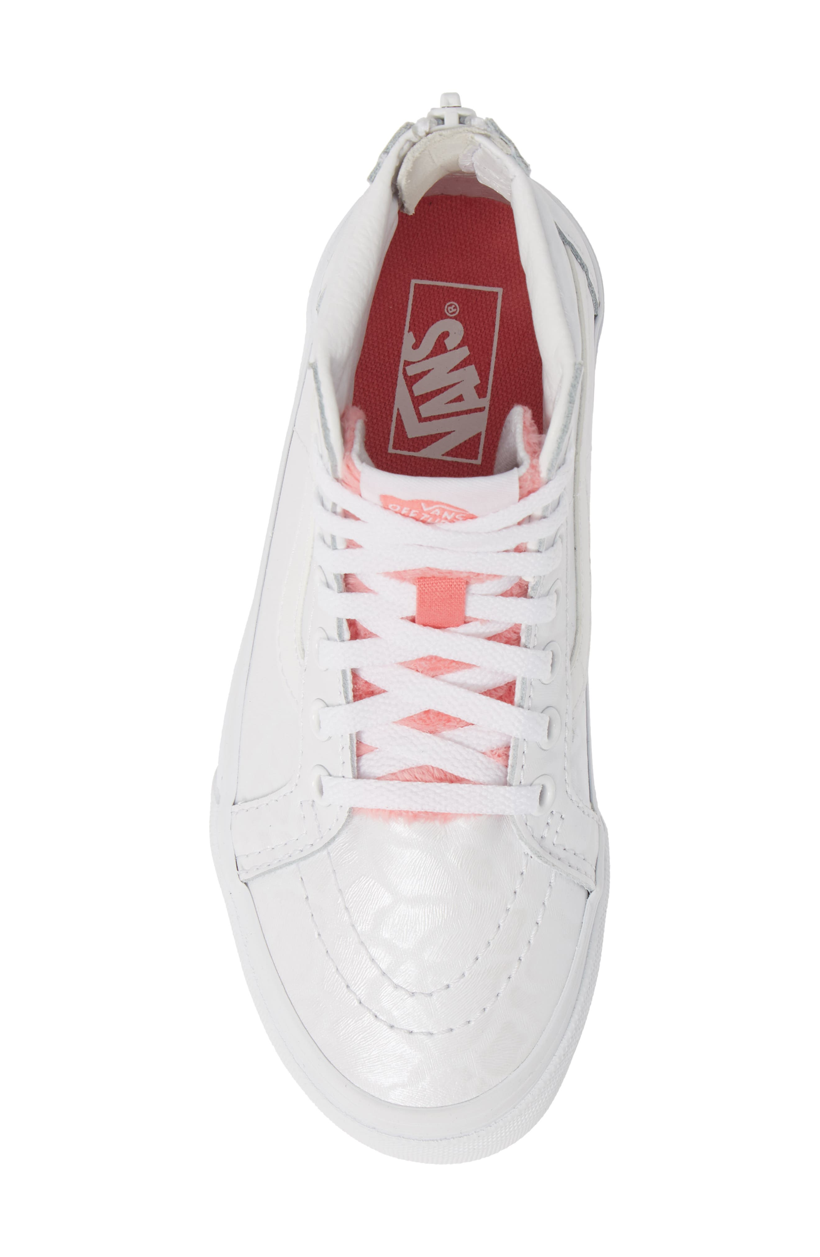 ,                             SK8-Hi Zip Leather & Faux Fur Sneaker,                             Alternate thumbnail 5, color,                             WHITE GIRAFFE TRUE WHITE/ PINK