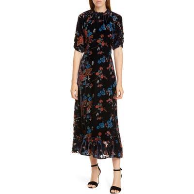 Sea Mari Floral Velvet Midi Dress