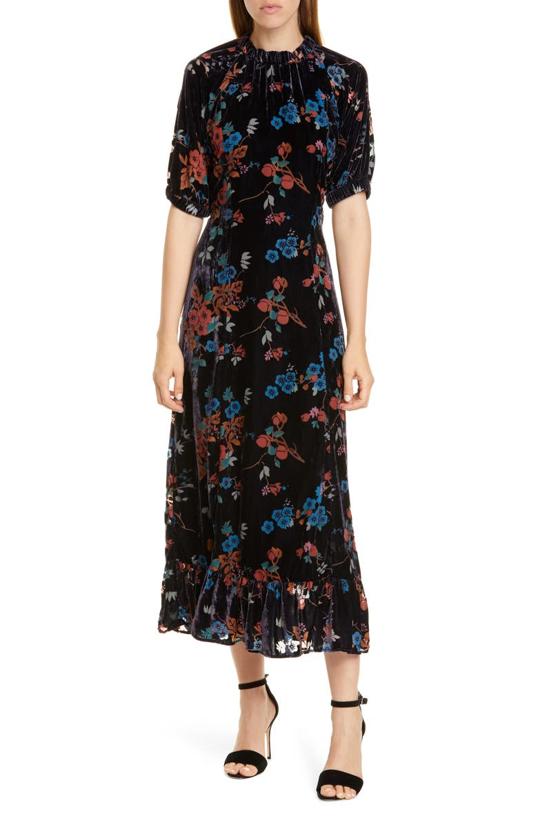 SEA Mari Floral Velvet Midi Dress, Main, color, 400
