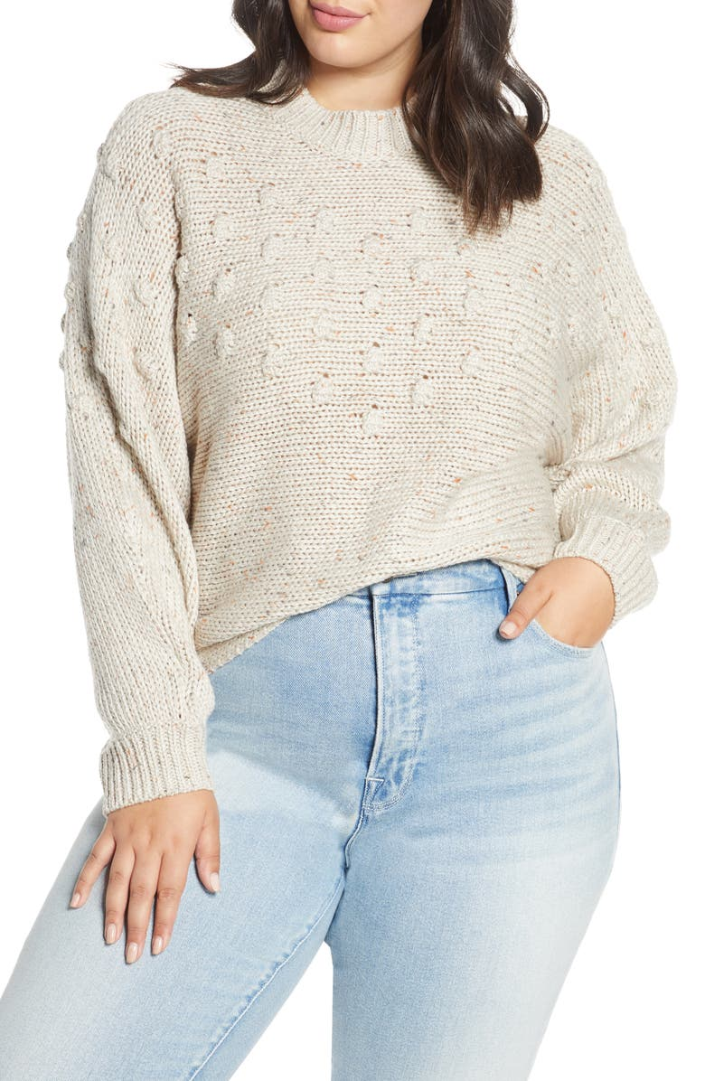 BP. Bobble Stitch Mock Neck Sweater, Main, color, BEIGE OATMEAL NEP