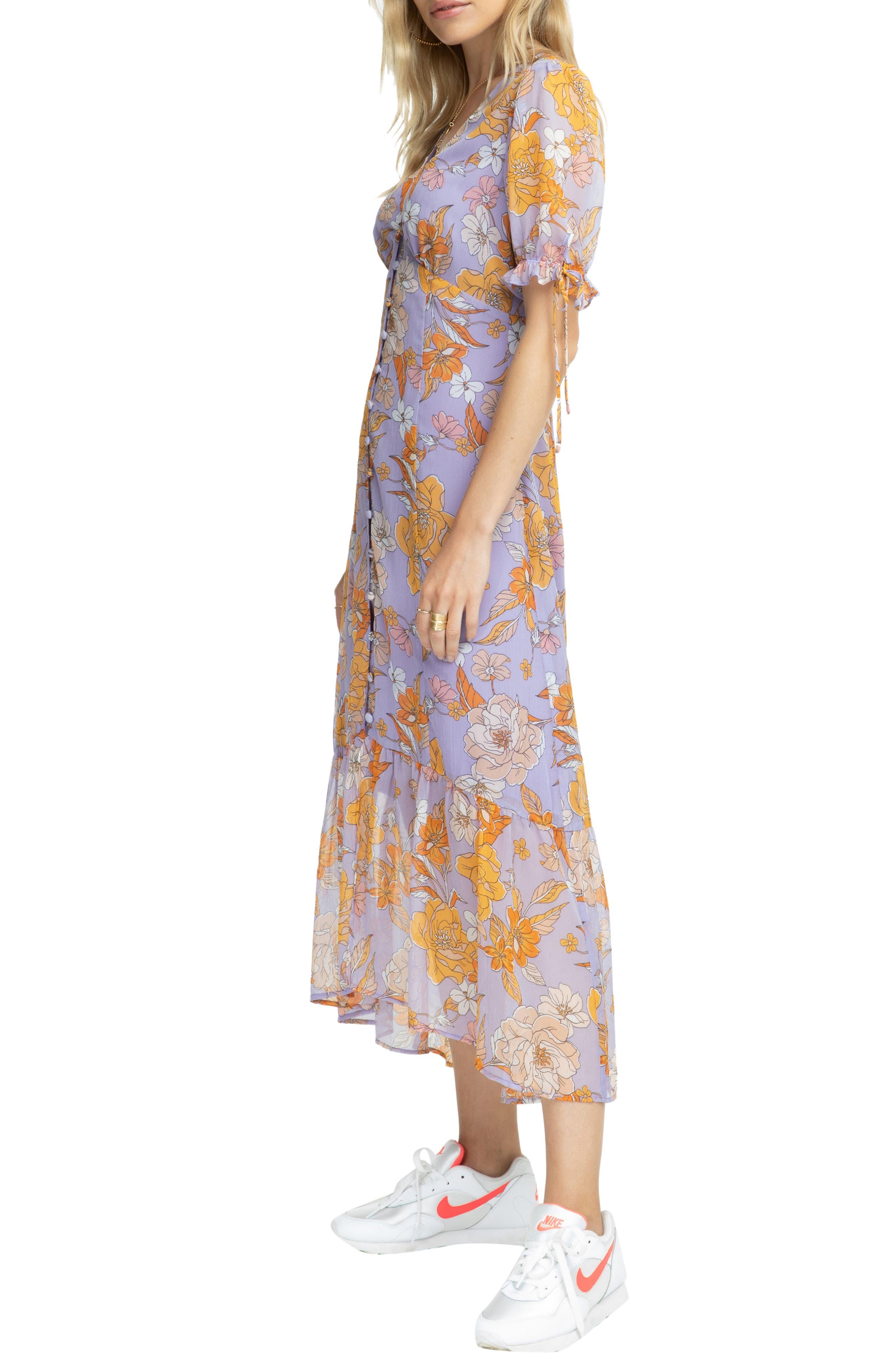 ,                             Chandler Floral Dress,                             Alternate thumbnail 4, color,                             ELECTRICAL LILAC FLORAL