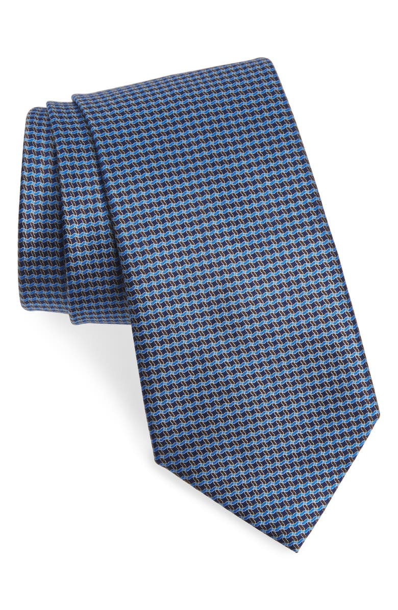 ERMENEGILDO ZEGNA Geometric Silk Tie, Main, color, NAVY FAN