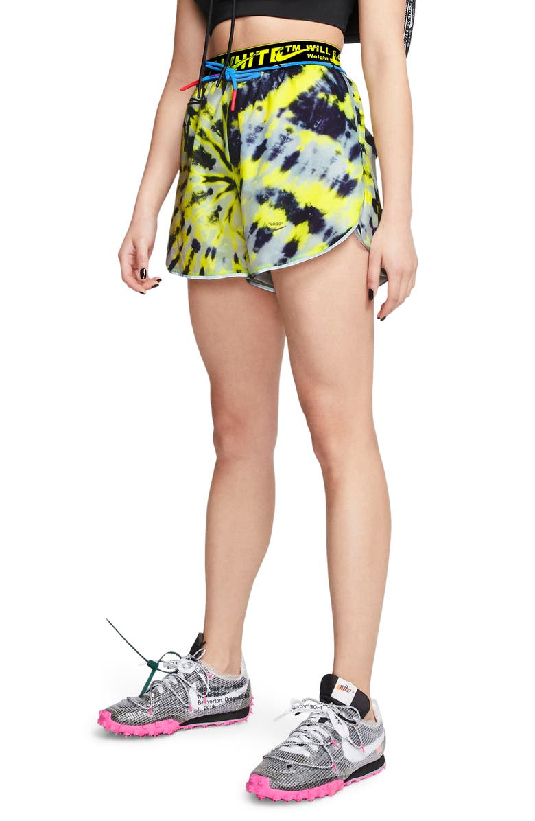 NIKE x Off-White Tie Dye Running Shorts, Main, color, VOLT